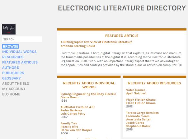Página do diretório de literatura eletrónica da Electronic Literature Organization.