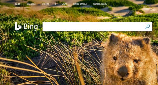 Página inicial do motor de pesquisa Bing.